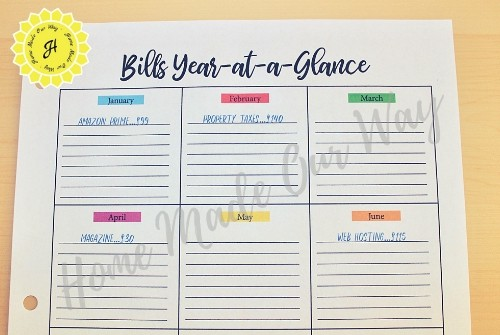 bills year at a glance sheet