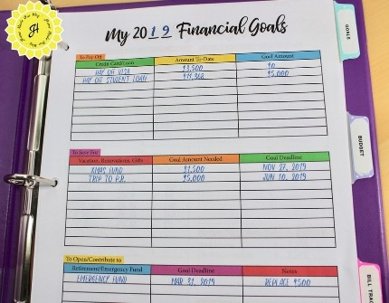 Financial planner pages in binder