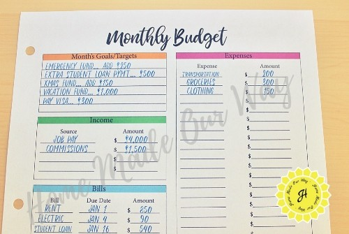 financial planner monthly budget sheet top portion