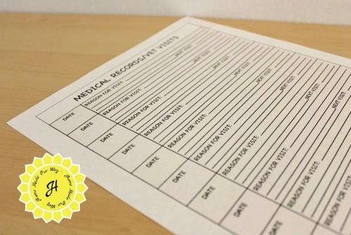 pet planner medical records vet visits