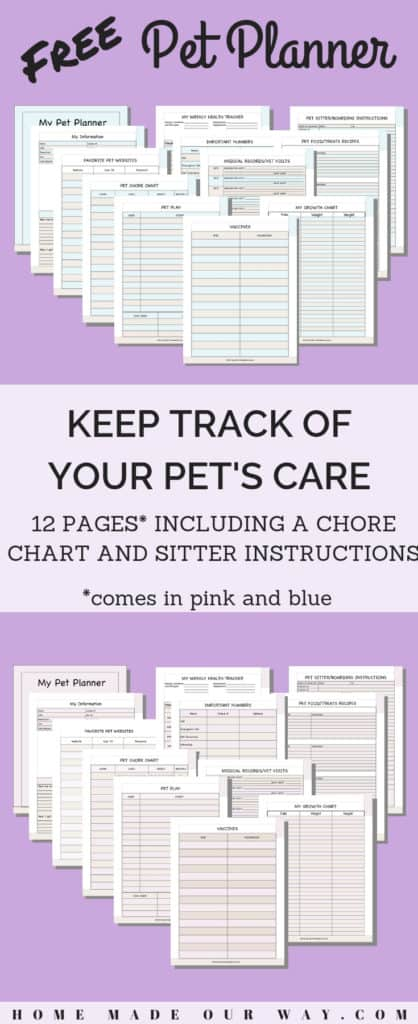 Pin image of the Free Pet Planner Printables post