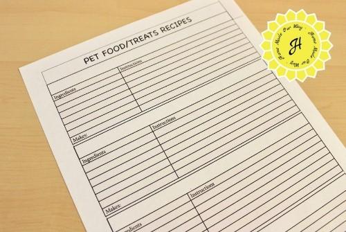 pet planner food treats recipe page
