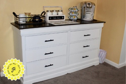 dresser upcycle into coffee station / coffee bar