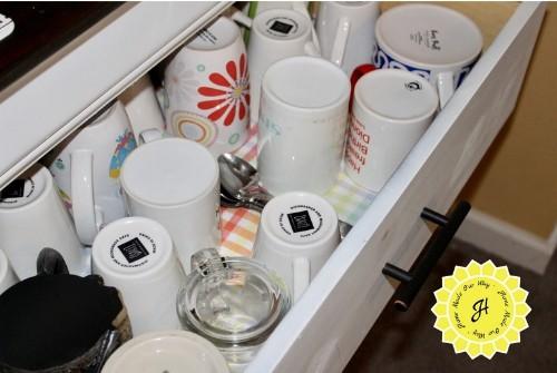 coffee mugs in dresser drawer coffee station / coffee bar