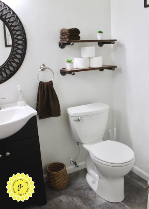 guest bathroom toilet and shelving