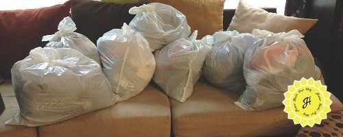 bags of clothes to be donated