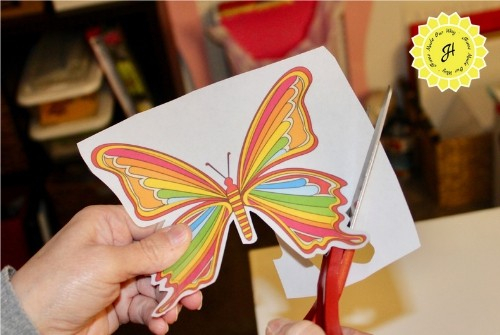 cutting out butterfly