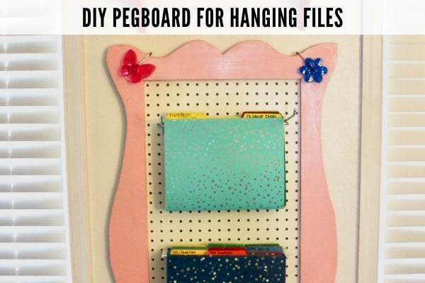 image of pegboard hanging file DIY