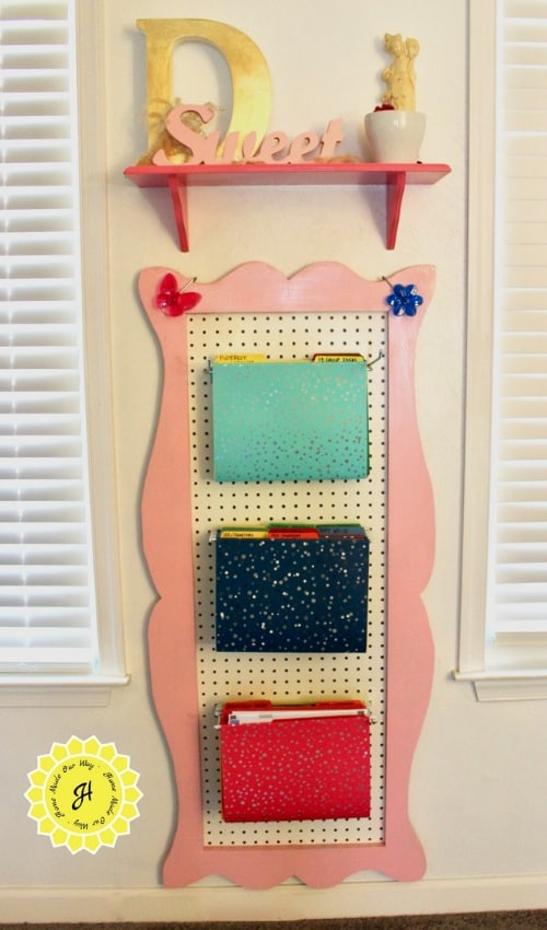 completed DIY pegboard hanging file holder display