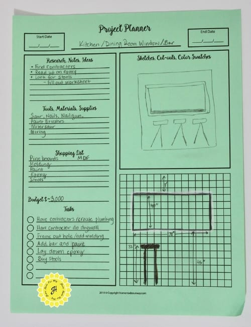 example of home improvement project planner filled in with measurements, drawing, notes, and lists.