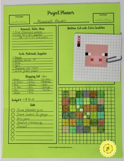 example of craft project planner for crocheting Minecraft blanket