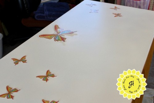 placement of butterflies on table top