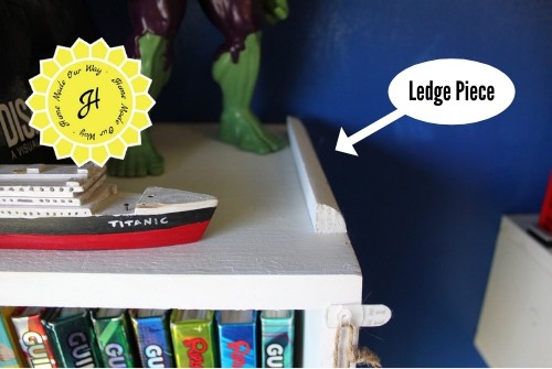 ledge piece on bookshelf
