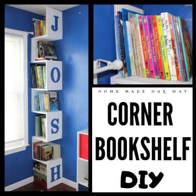 Try this space-saving corner bookshelf DIY for your children's room. Step-by-step tutorial and diagrammed plans available. Click to learn how to build and put this easy project together. | wooden bookcase for kids | maximize and optimize space by going vertical with this tall book display | a creative and simple storage solution for unused spaces like room corners | design and style your unique space-saver #bookshelf #DIY #kids