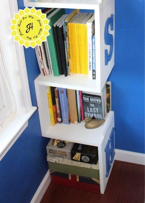 bottom portion of the corner bookshelf