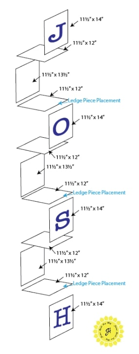 Exploded diagram with measurements and ledge placement.
