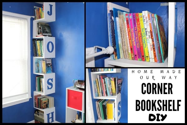 A variety of pictures of the corner bookshelf DIY