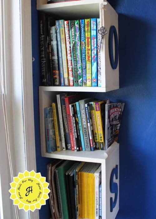 middle tiers of the bookshelf tower