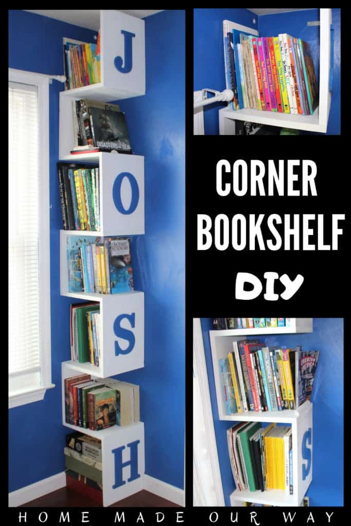 various images of the corner bookshelf DIY for Pinterest pin