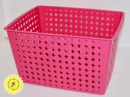 large pink plastic bin