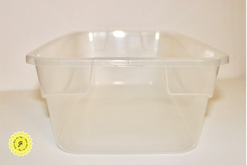 small plastic bin similar to a shoebox size