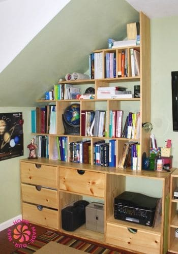 image of homeschool room sloping bookshelf