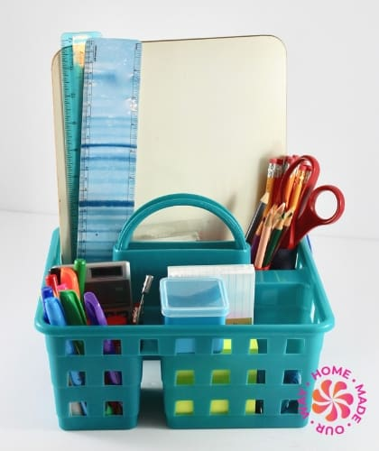 image of a blue caddy holding school supplies