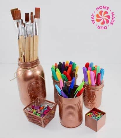 image of repurposed items to use for organizing desk supplies