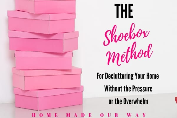 horizontal image showing title of the post and pink shoeboxes stacked on top of each other