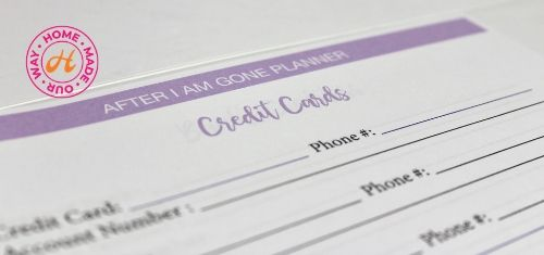 image of credit cards information page in planner