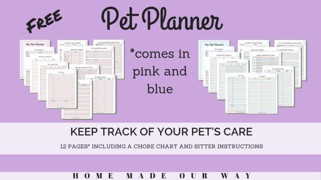 image of pet planner pages in blue and pink versions