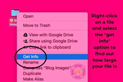 Get info option on file menu