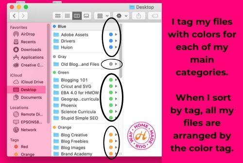tag option when sorting desktop folder files