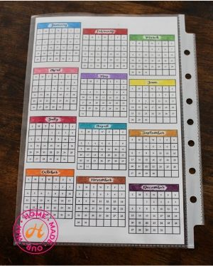 year-at-a-glance calendar in page protector