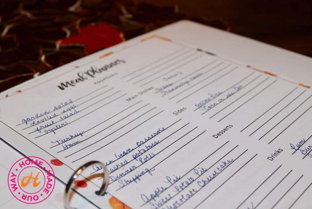 Meal Planner Page for Thanksgiving Planner