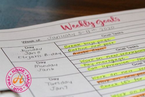 Weekly Goal Tasks for Goal keeping Planner