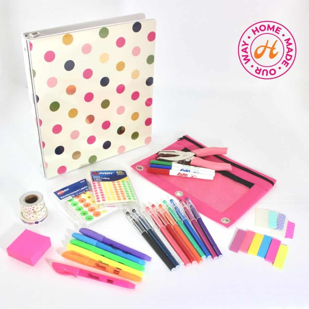 image of home management binder supplies