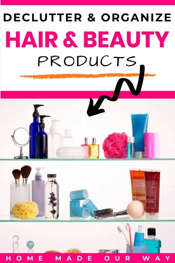 pin image for hair & beauty decluttering & organizing post