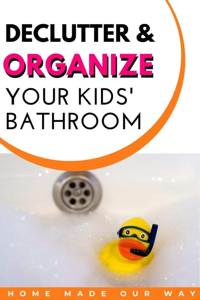 pin image for Kids' bathroom organization post
