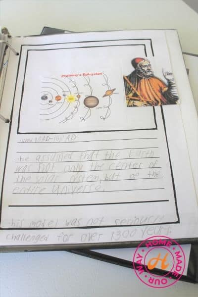 image of science notebooking page with Ptolemy example