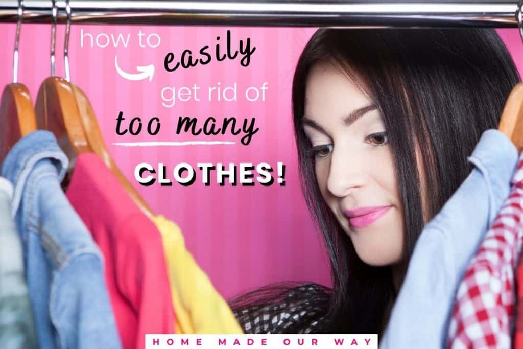 feature image for how to easily get rid of too many clothes post