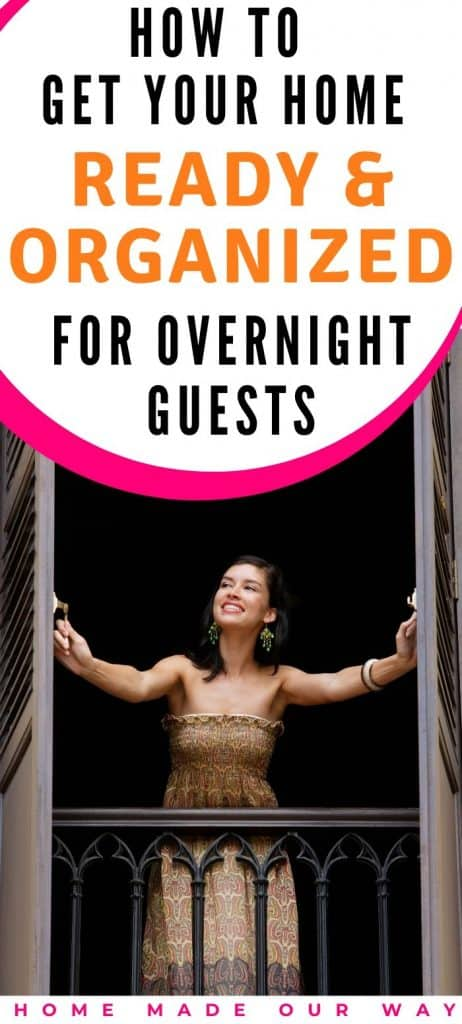 pin image for organizing your home for overnight guests post