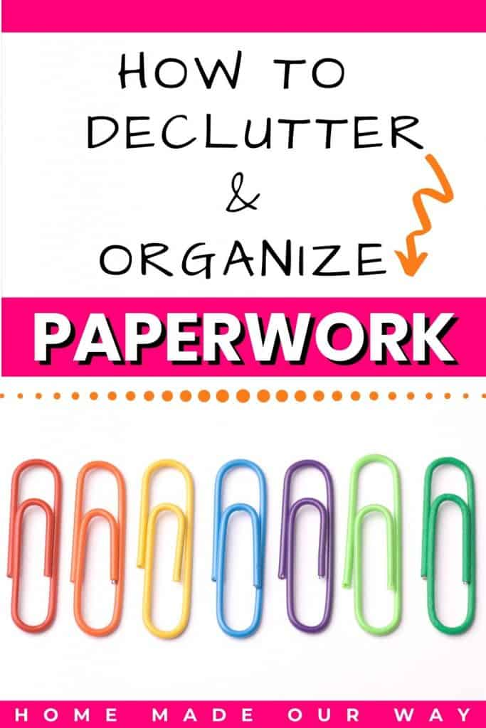 pin image for paper organization and declutter of paperwork and documents