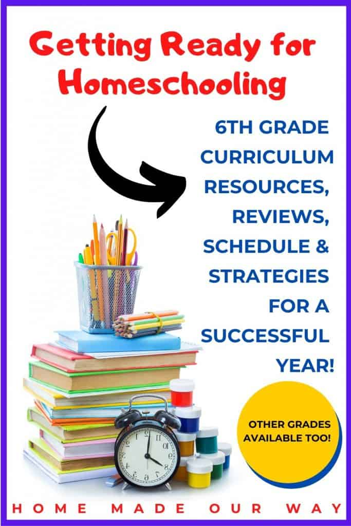 pin image for 6th grade homeschool schedule post