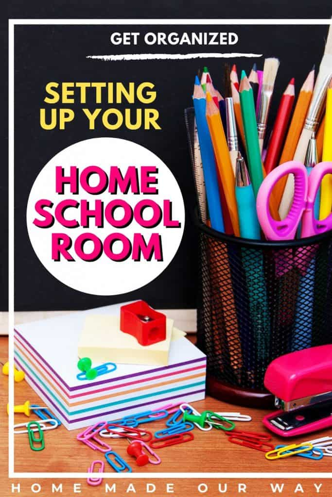 Pin image for Homeschool Organization and Setup Post