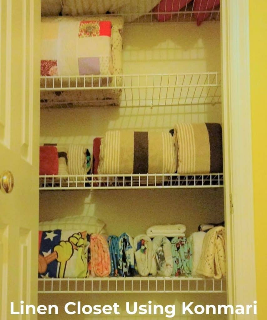 image of linen closet using konmari method