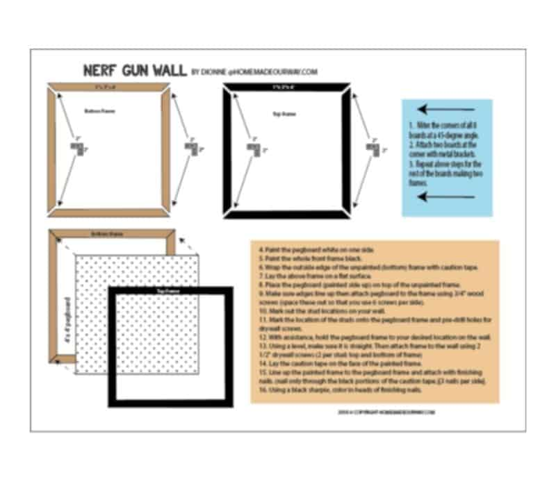 image of Nerf wall diy diagrammed plans