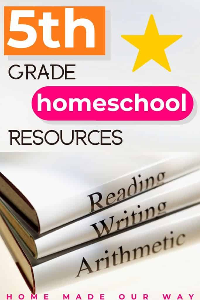 pin image for 5th grade homeschool curriculum resources, reviews, and schedule post