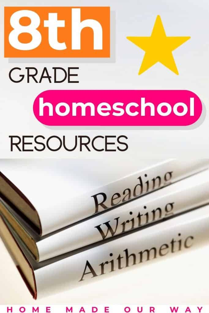 pin image for 8th grade homeschool resources, schedule, and lesson plans post