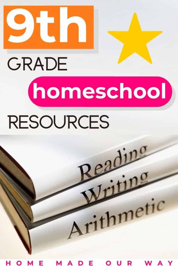 pin image for 9th grade homeschool curriculum resources, schedule, and lesson plans
